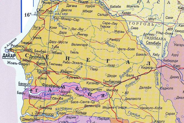 Карта Сенегала